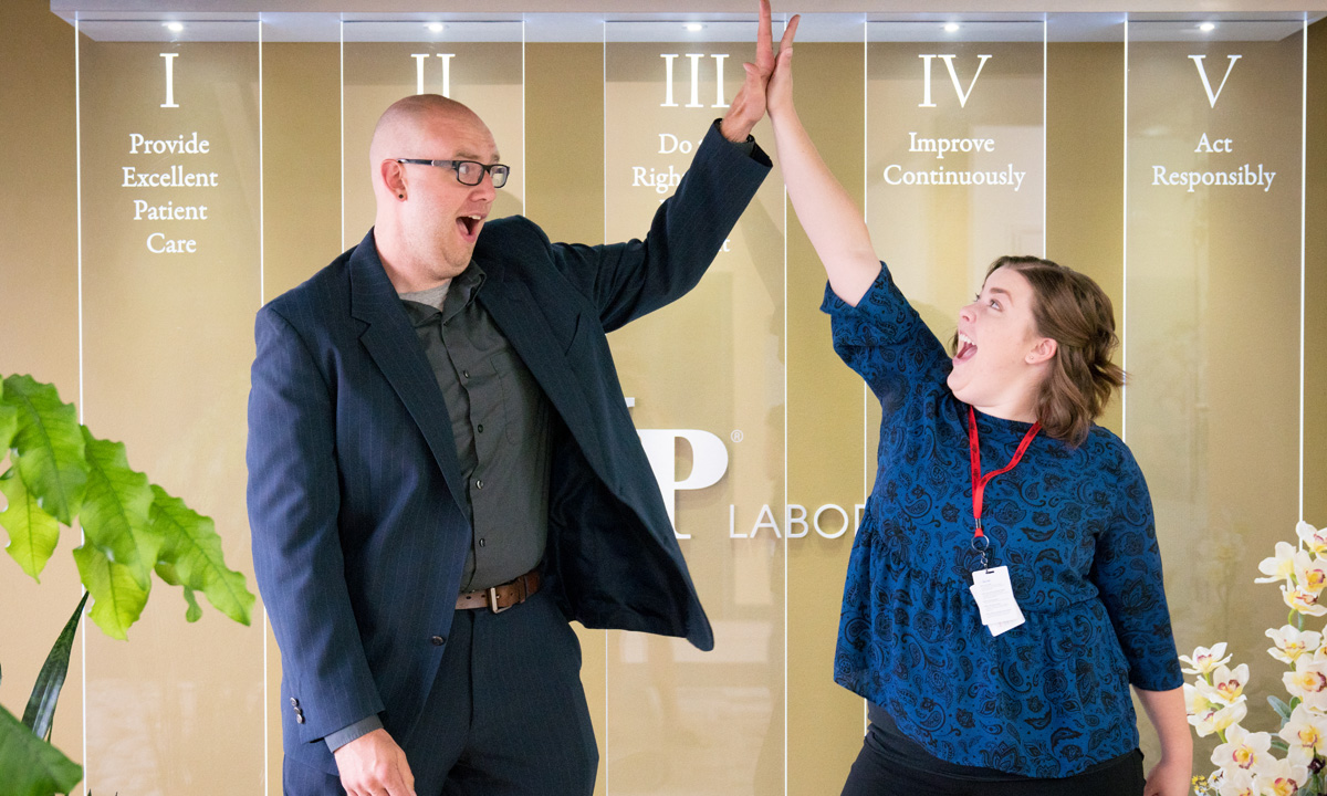 Josh Cowley-Maddocks in Product Management and Emily Shelley in Client Services remind ARUP employees to celebrate our success in keeping our clients happy