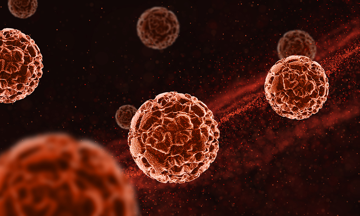Image shows a microscopic view of circulating tumor cells.
