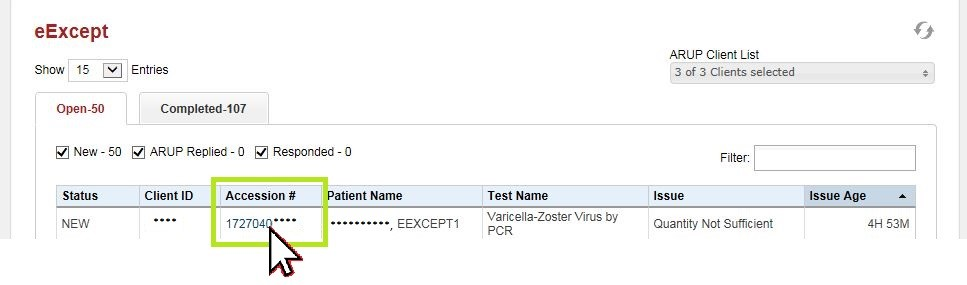 eExcept Accession #